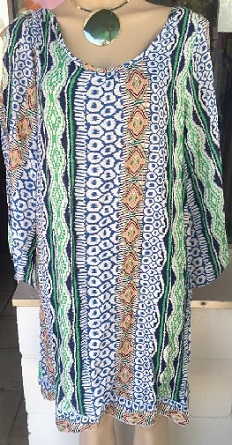 Kaftan Blue Orange Print S 10/12